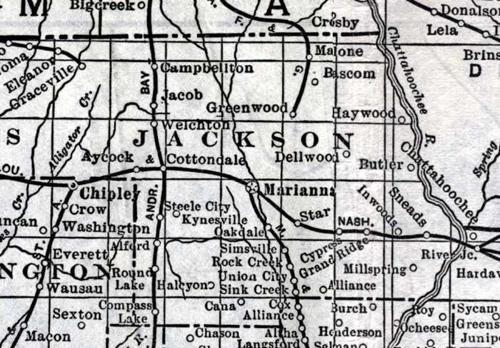 Map of Jackson County, Florida, 1920