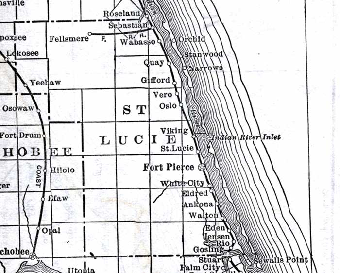 Map of St. Lucie County, Florida, 1920