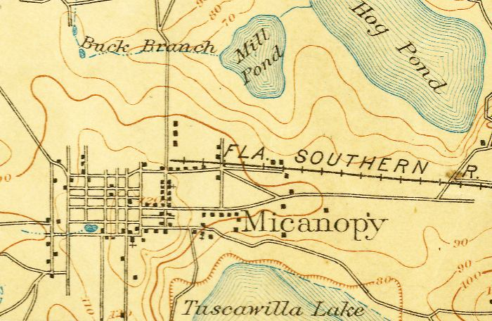 Alachua (FL) United States  city photo : Map of Micanopy, 1894, Florida