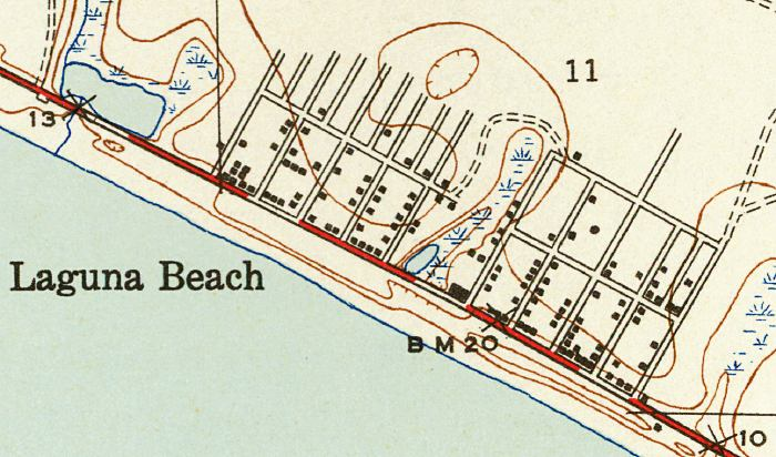 Map Of Beaches In Florida.Map Of Laguna Beach 1943 Florida