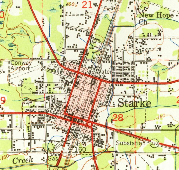 Map Of Starke 1949 Florida