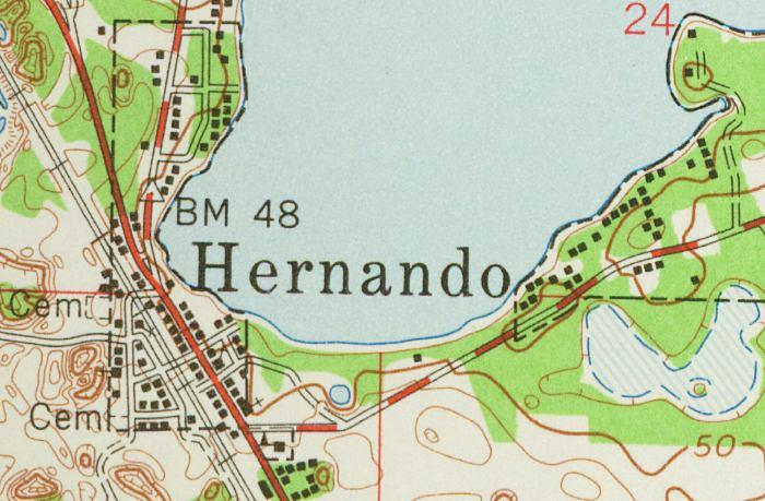 Hernando Florida Map.Map Of Hernando 1954 Florida