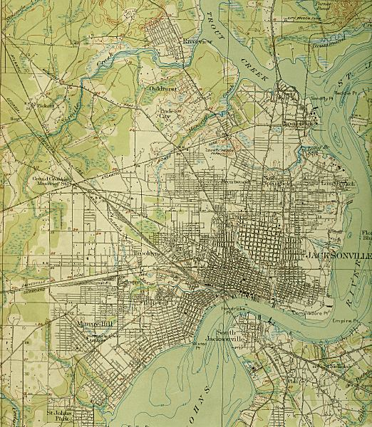 Map of Jacksonville, 1918, Florida