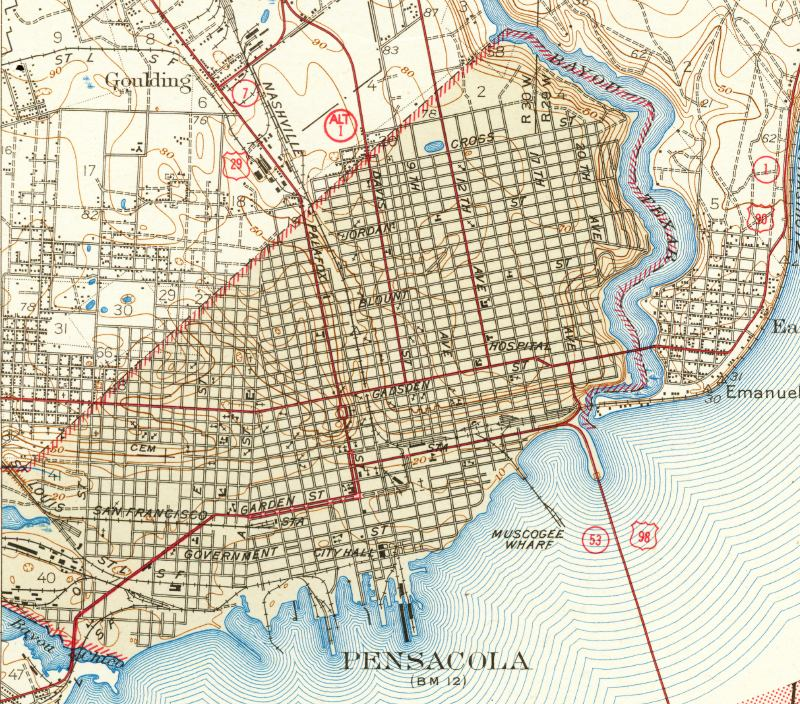 Map Pensacola Florida.Map Of Pensacola 1942 Florida