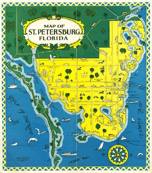 Southern Florida Map.Map Of St Petersburg Mid 1900s