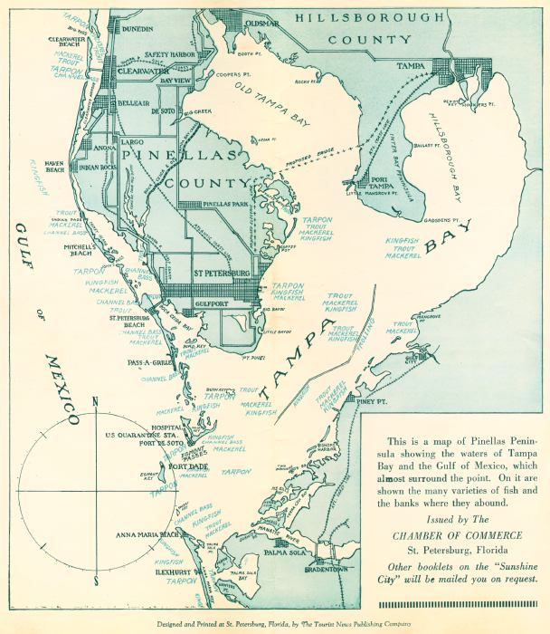 Map of Tampa Bay Fishing Sites, mid 1900s