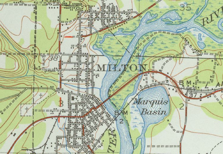 Map of Milton, 1941, Florida