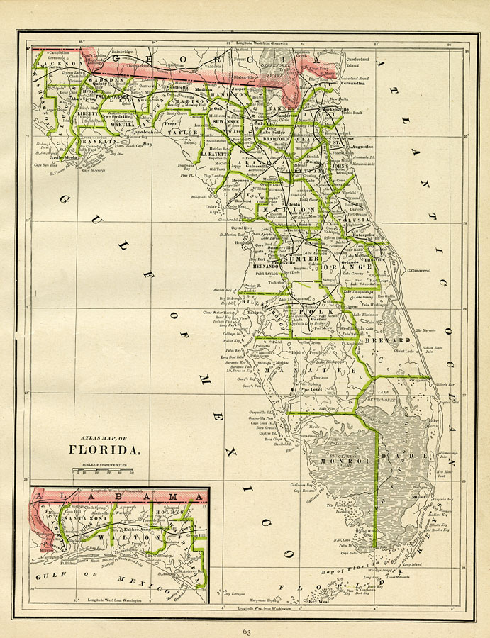 Atlas Map of Florida, 1886