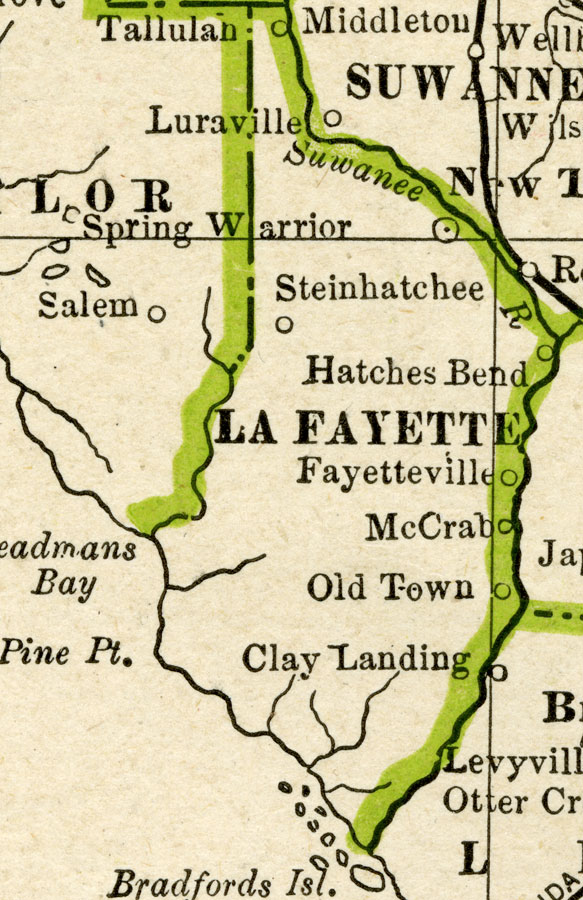 Old Town Florida Map.Lafayette County 1886