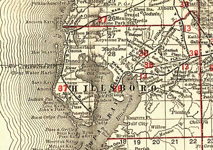 Florida Railroad Map.Florida Railroads Hillsborough County 1900