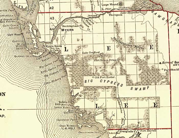 Florida Map Fort Myers.Florida Railroads Lee County 1900