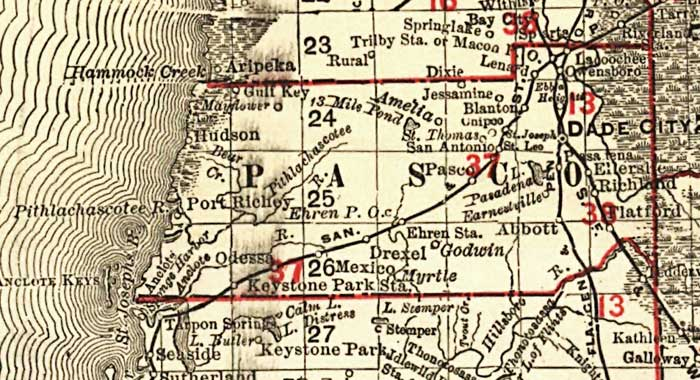Map Of Pasco County Florida.Florida Railroads Pasco County 1900