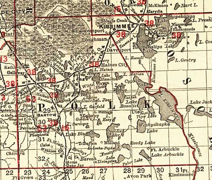 Polk County Florida Map Florida Railroads   Polk County, 1900