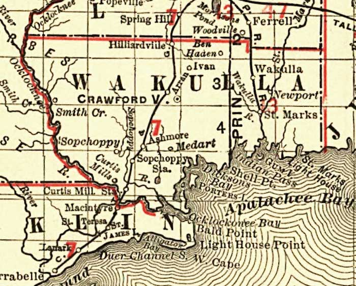 Map Of Wakulla County Florida.Florida Railroads Wakulla County 1900