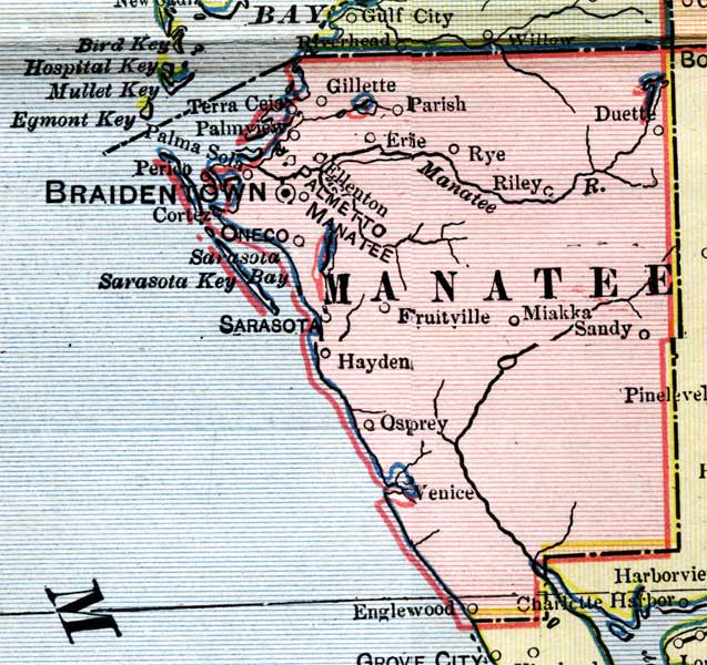Florida Map By County.Manatee County 1902