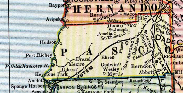 Map Of Pasco County Florida.Pasco County 1902