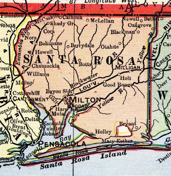 Santa Rosa Florida Map.Santa Rosa County 1902