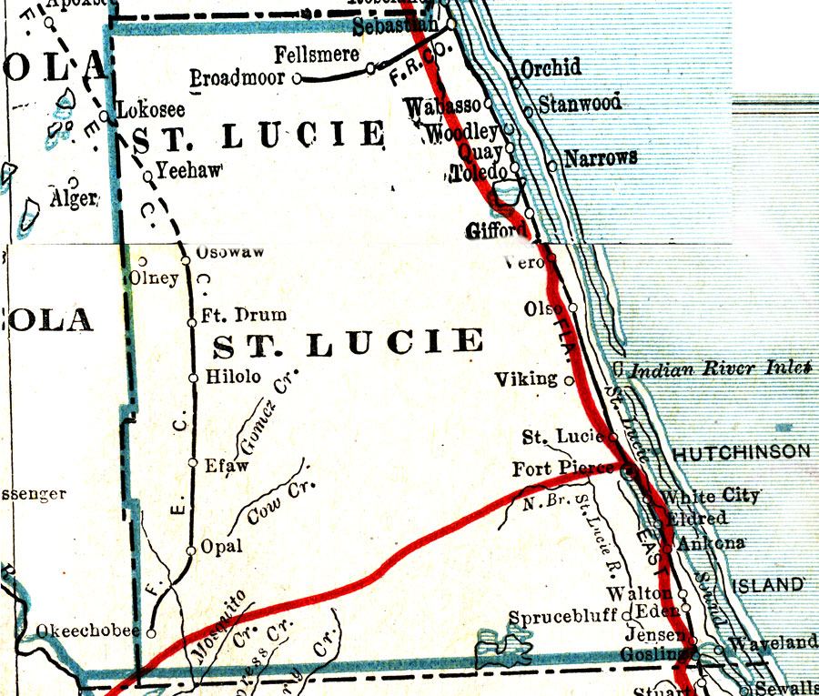 St Lucie Florida Map.St Lucie County 1917