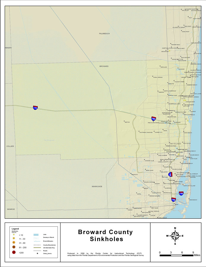 Map Of Broward County Florida.Sinkholes Of Broward County Florida 2008