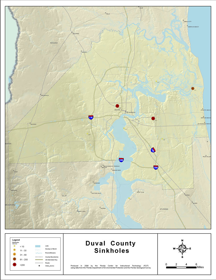 Sinkhole Florida Map.Sinkholes Of Duval County Florida 2008