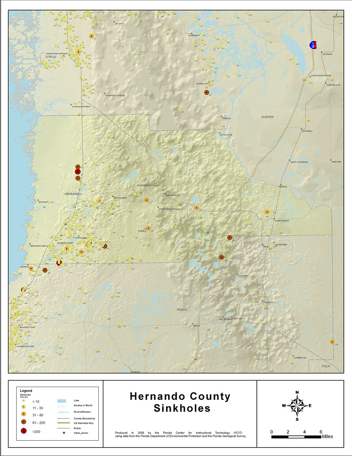 Brooksville Florida Map.Sinkholes Of Hernando County Florida 2008