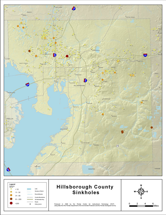 Florida Sink Hole Map.Sinkholes Of Hillsborough County Florida 2008