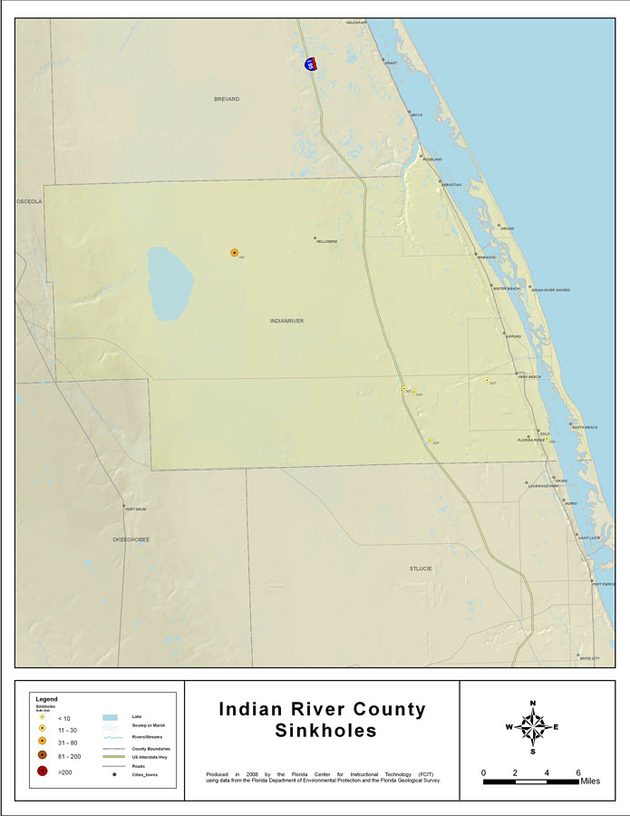 Indian River Florida Map.Sinkholes Of Indian River County Florida 2008