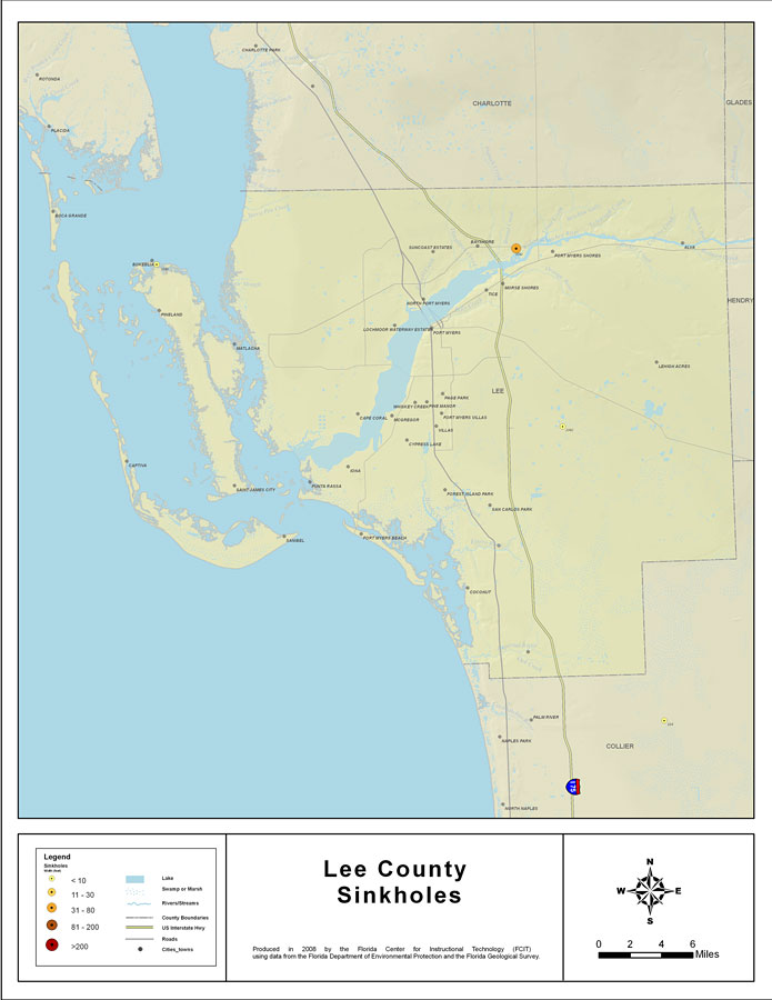 Map Of Lee County Florida.Sinkholes Of Lee County Florida 2008