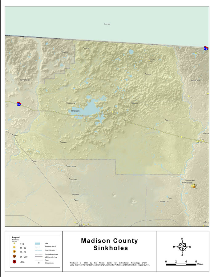 Madison Florida Map.Sinkholes Of Madison County Florida 2008