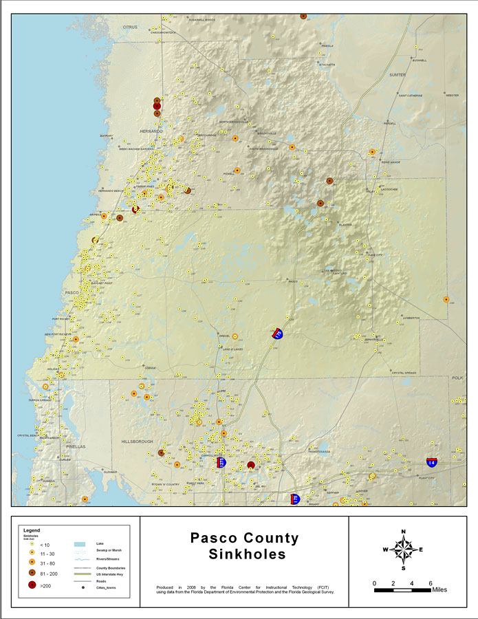 Map Of Pasco County Florida.Sinkholes Of Pasco County Florida 2008