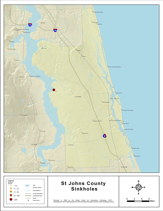 St Johns Florida Map Sinkholes of St. Johns County, Florida , 2008