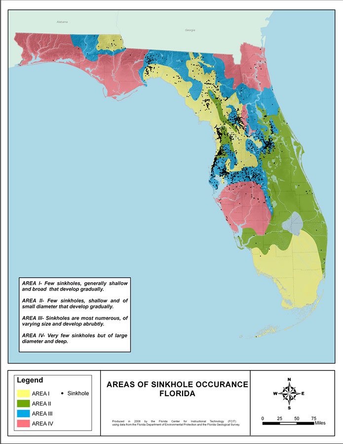 sinkhole activity map florida Areas Of Sinkhole Occurrence Florida 2008
