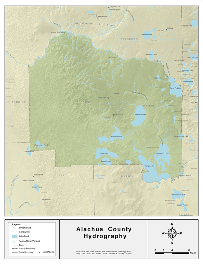 Alachua Florida Map.Florida Waterways Alachua County 2008