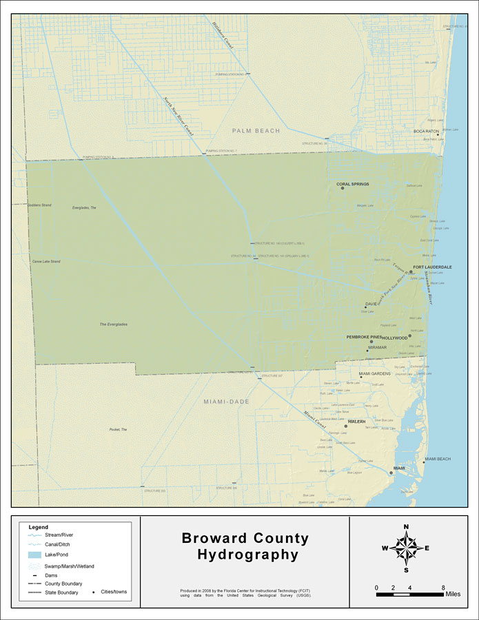 Broward County Florida Map.Florida Waterways Broward County 2008