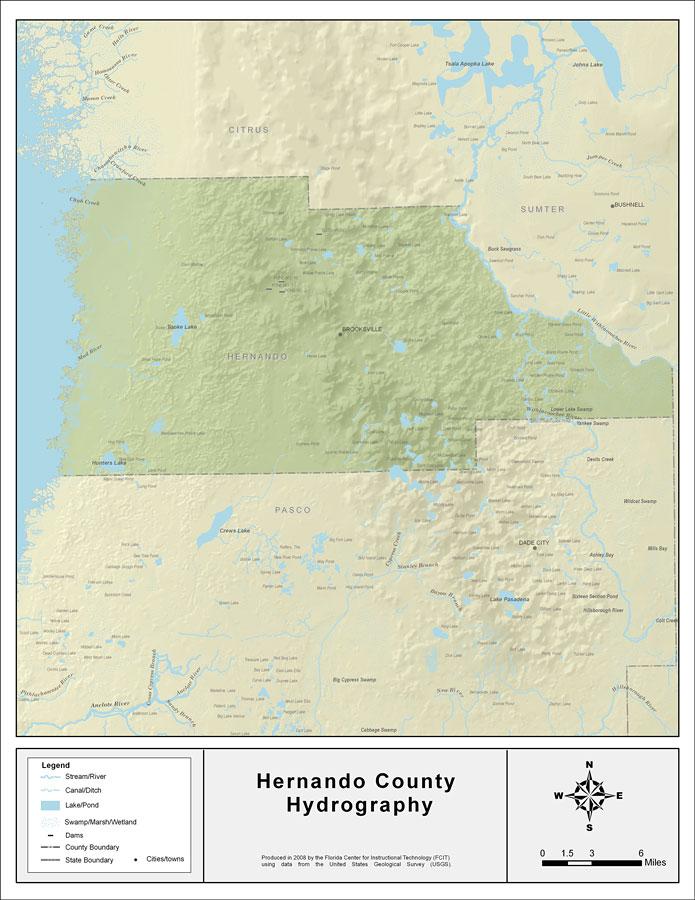 Hernando Florida Map.Florida Waterways Hernando County 2008