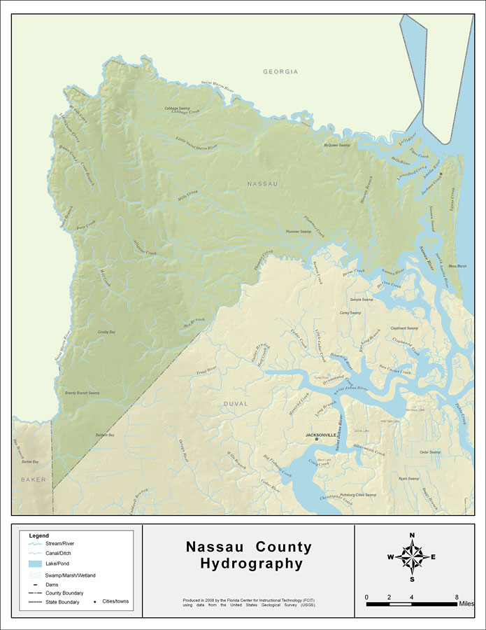 Florida Map By County.Florida Waterways Nassau County 2008