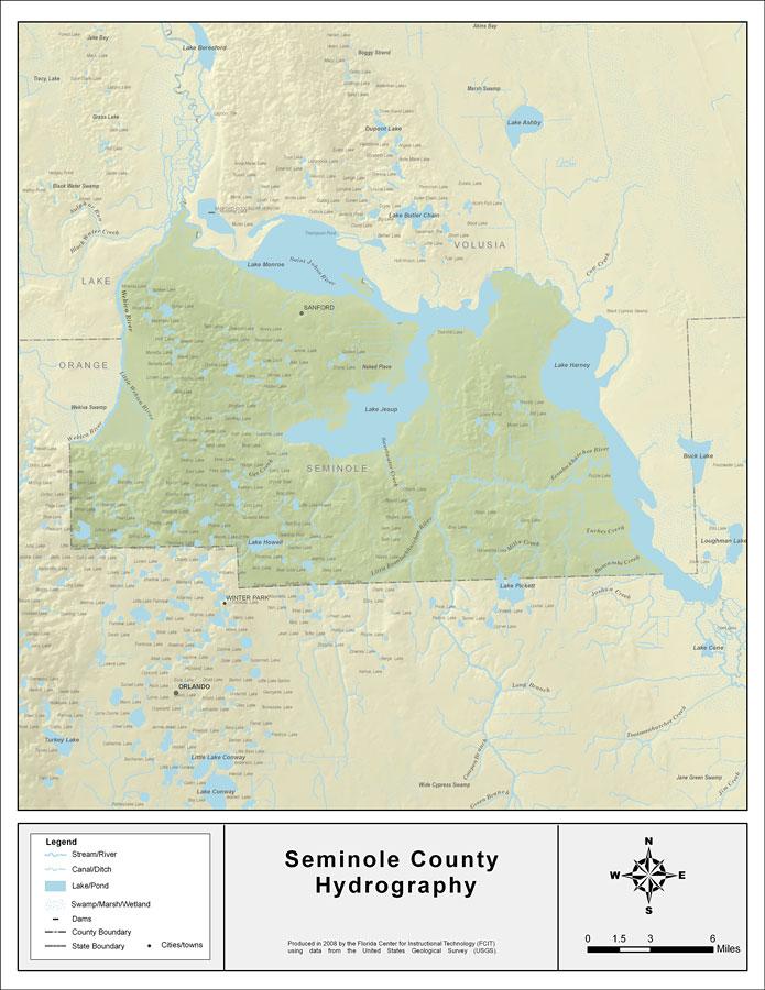 Seminole Florida Map.Florida Waterways Seminole County 2008