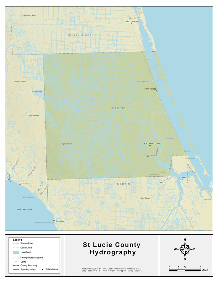 St Lucie Florida Map.Florida Waterways St Lucie County 2008
