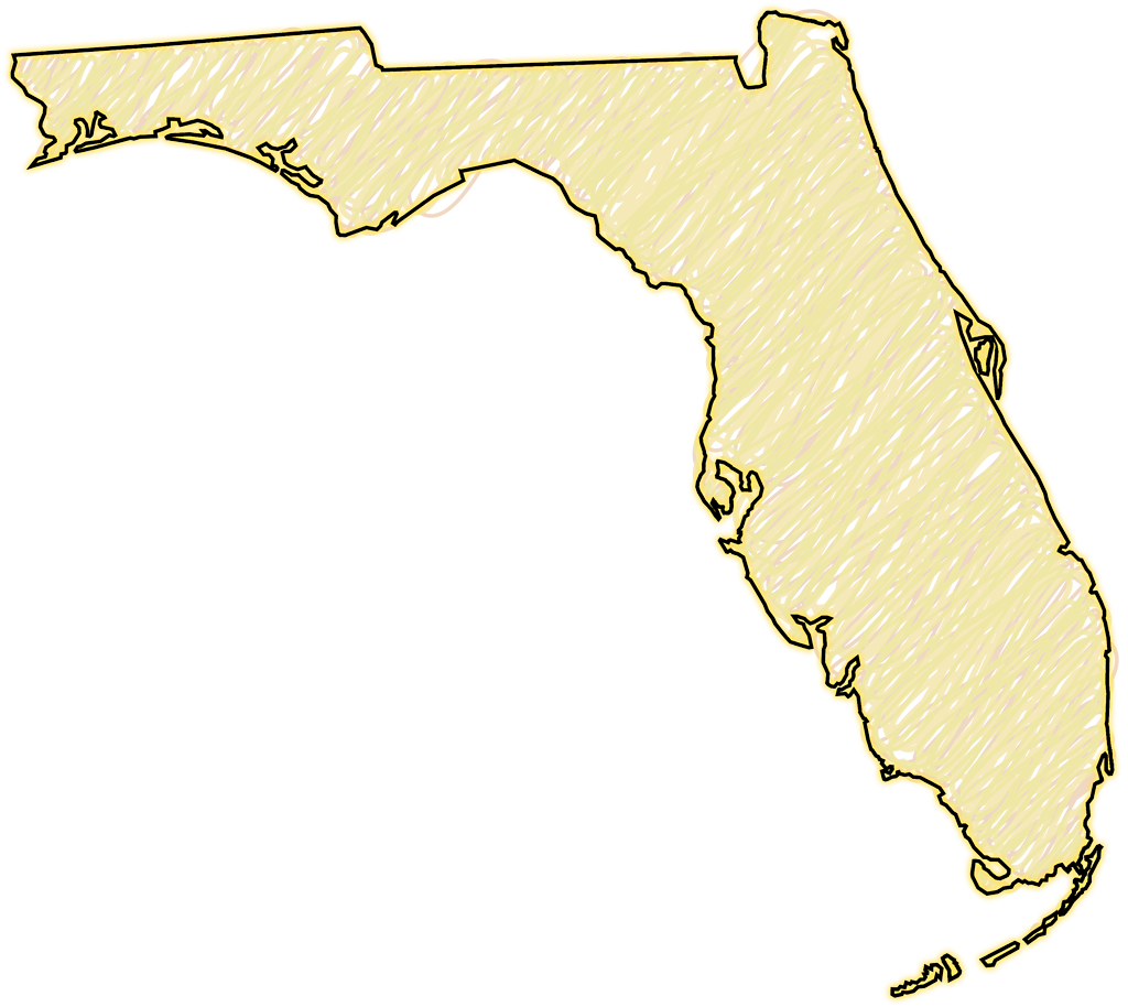 """Florida """"Abstract"""" Style Maps: #29 Yellow Scribble"""