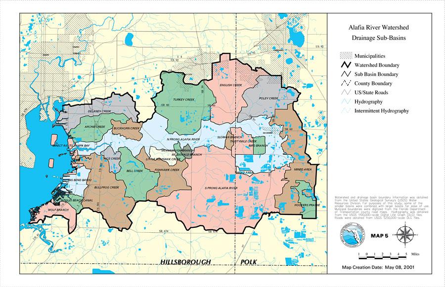 Alafia River Watershed Drainage SubBasins Map May - Us river basin map