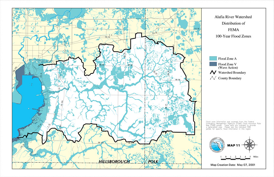 Florida Watershed Map.Alafia River Watershed Distribution Of Fema 100 Year Flood Zones