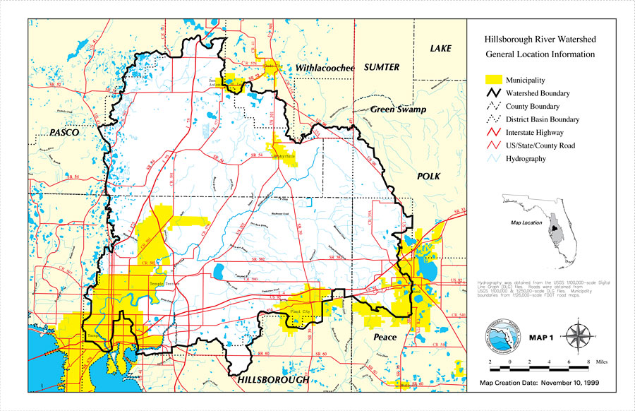 Florida Watershed Map.Hillsborough River Watershed General Location Information Map 1