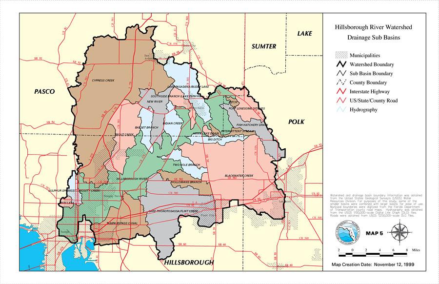 Hillsborough River Watershed Drainage Sub Basins Map November - Hillsborough county map