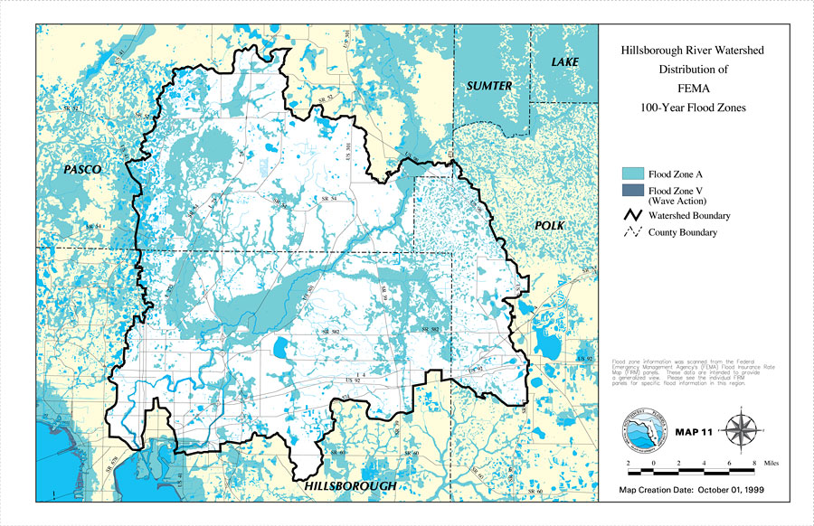 Hillsborough River Watershed Distribution Of FEMA Year Flood - Florida flood plain map