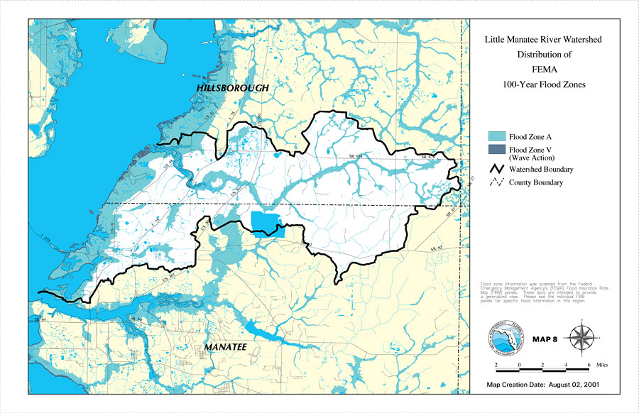 Little Manatee River Watershed Distribution Of FEMA Year Flood - Fema flood zone map florida