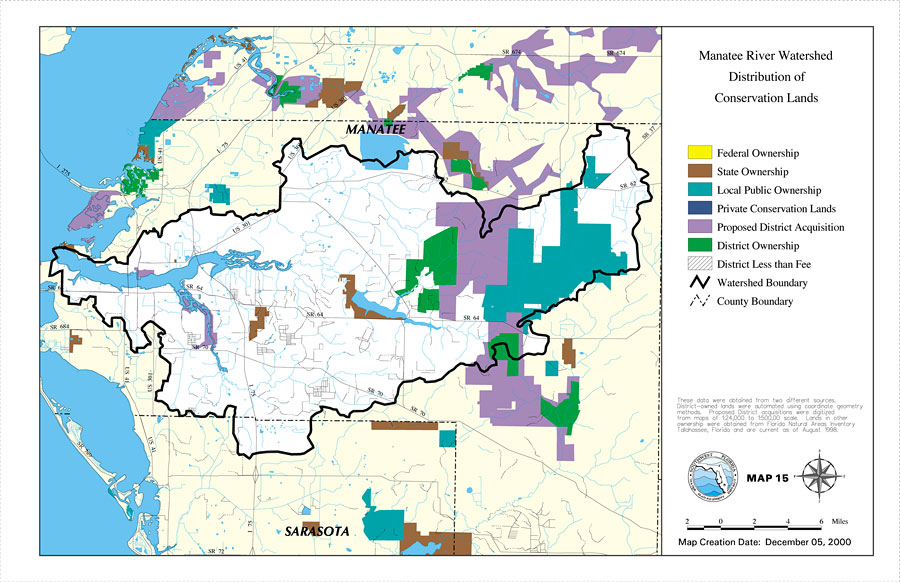 Florida Watershed Map.Manatee River Watershed Distribution Of Conservation Lands Map 15
