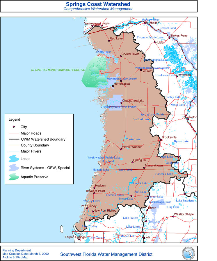Florida Watershed Map.Springs Coast Watershed Comprehensive Watershed Management March 7