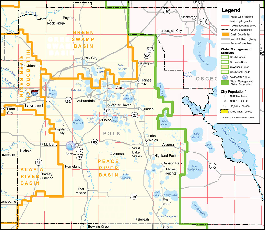 Southwest Florida Water Management District Polk County - Florida map districts