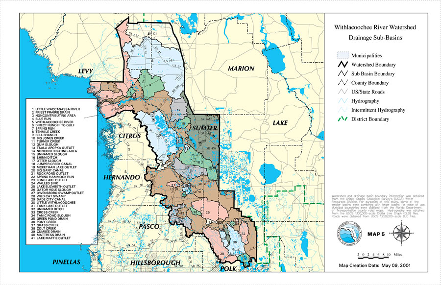 Florida Watershed Map.Withlacoochee River Watershed Drainage Sub Basins May 9 2001