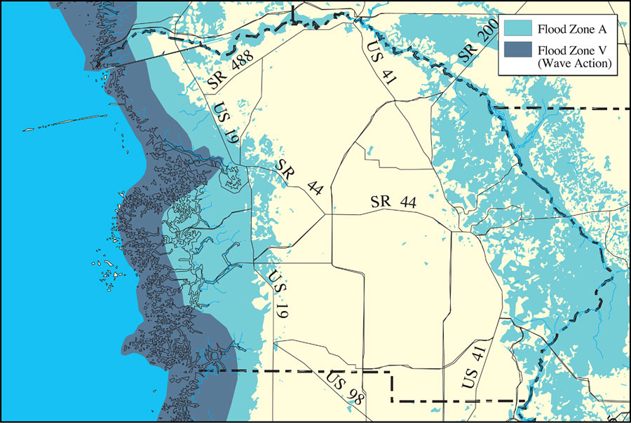 Distribution of FEMA 100-Year Flood Zones- Citrus County, May 9, 2001